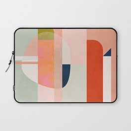 shapes modern mid-century peach pink coral mint Laptop Sleeve