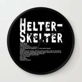 Helter Skelter (white on black) Wall Clock