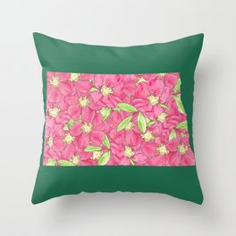 North Dakota in Flowers Throw Pillow