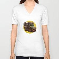 truck V-neck T-shirts featuring Truck by Mirko Dessureault