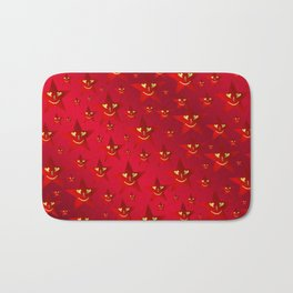 happy, smiling smileys on stars in rich red Bath Mat