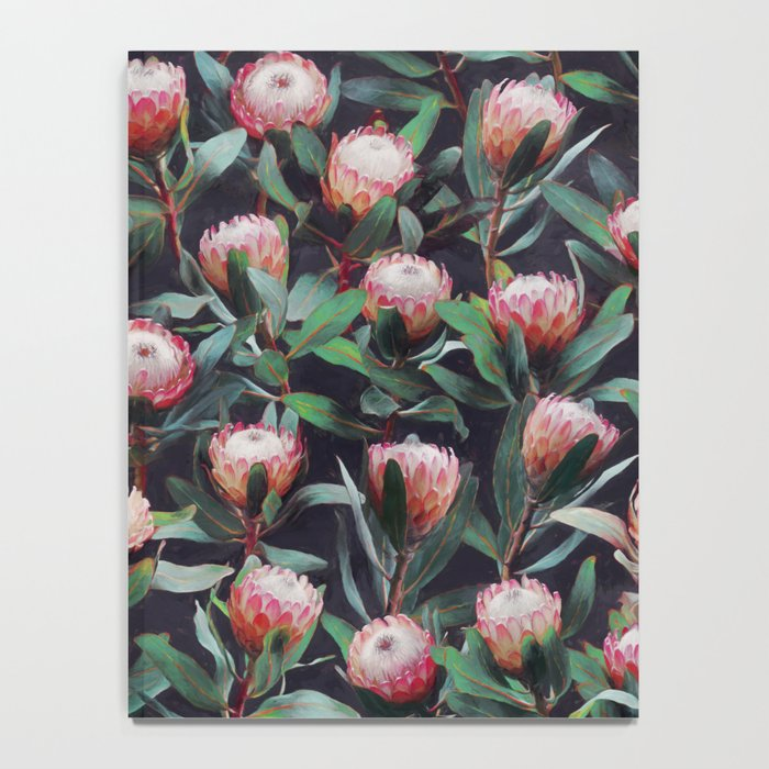 Evening Proteas - Pink on Charcoal Notebook