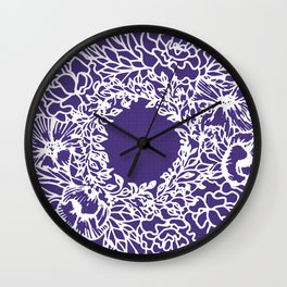 White Flowery Linocut Wreath On Checked UltraViolet Wall Clock