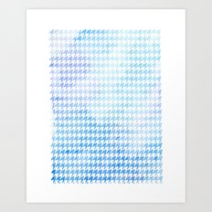 Houndstooth blue watercolor Art Print