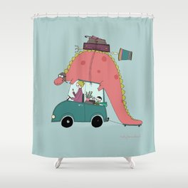 Dino on the move Shower Curtain