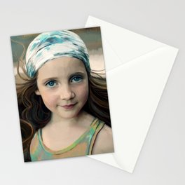Dancer at Dusk - portrait painting of a young girl Stationery Cards