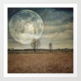 Supermoon Arrival - full moon Art Print