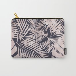 Whisper-Pink Palm Leaves Pattern Carry-All Pouch