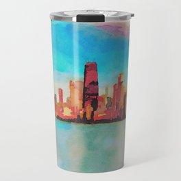 Chicago Skyline At Sunset Viewed From North Avenue Beach Travel Mug