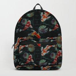 Meditative Koi Fish Pattern Black Backpack