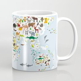 Cartoon animal world map for children and kids, Animals from all over the world, back to school Coffee Mug