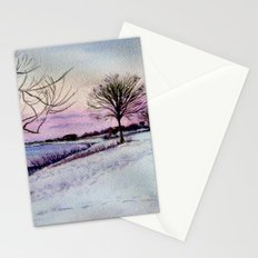 Winter evening in Racine Stationery Cards