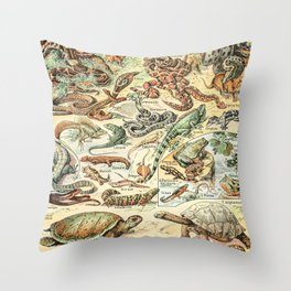Reptiles II by Adolphe Millot // XL 19th Century Snakes Lizards Alligators Science Textbook Artwork Throw Pillow