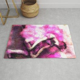 Degas The Dancer Hot Pink Bokeh Rug