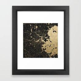 Boston Gold and Black Invert Framed Art Print