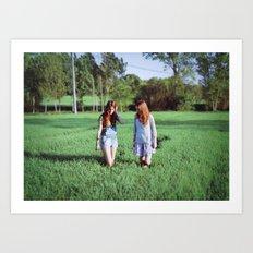 Girls in field Art Print