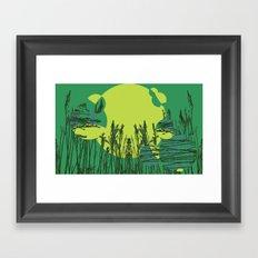 Grassy Sunset. Framed Art Print