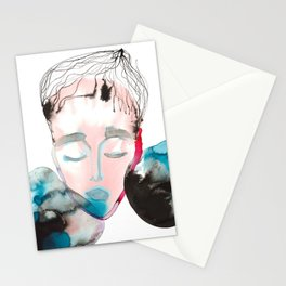 Abstract Cone-Head Portrait Stationery Cards