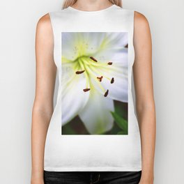 White Easter Lily Close Up Biker Tank