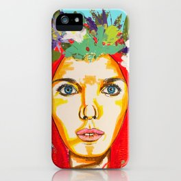 Red haired girl with flowers in her hair iPhone Case