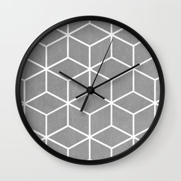 Light Grey and White - Geometric Textured Cube Design Wall Clock