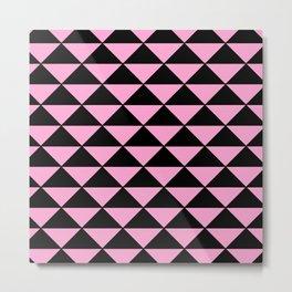 Graphic Geometric Pattern Minimal 2 Tone Infinity Triangles (Pastel Pink & Black) Metal Print