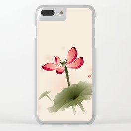 Oriental Lotus 001 Clear iPhone Case