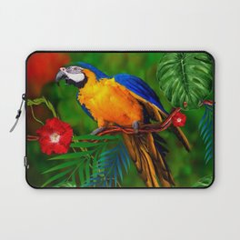 JUNGLE  FOLIAGE BLUE-GOLD MACAW PARROT Laptop Sleeve