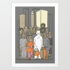 Polar Bear Is Falling In Love With The City Art Print