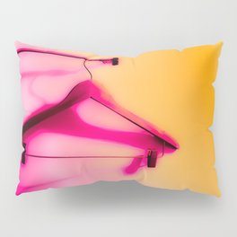 wood hanger with pink and orange background Pillow Sham