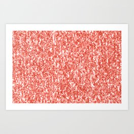 Living coral dark glitter sparkles Art Print