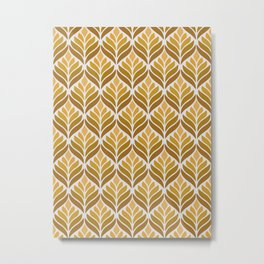 Yellow Retro Flower Pattern Metal Print