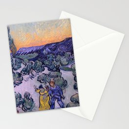 Landscape with Couple Walking and Crescent Moon Stationery Cards
