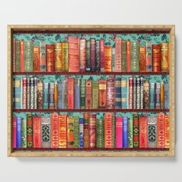 Vintage Books / Christmas bookshelf & holly wallpaper / holidays, holly, bookworm,  bibliophile Serving Tray