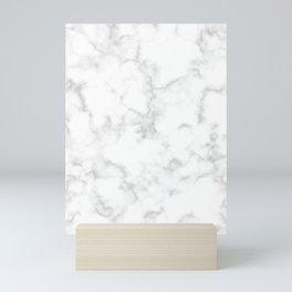 Classic Deep Grey and White Natural Stone Veining Quartz Mini Art Print