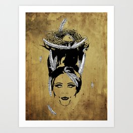 A Head Full of Feathers Art Print