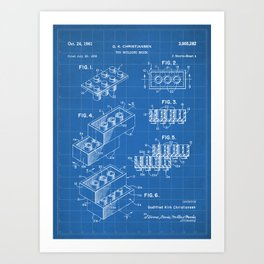 Legos Patent - Legos Brick Art - Blueprint Art Print