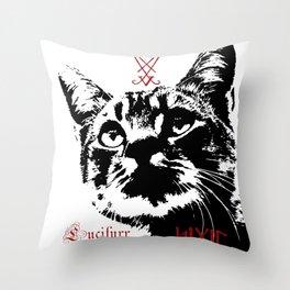 CAT METAL : Lucifurr - SIGIL Throw Pillow