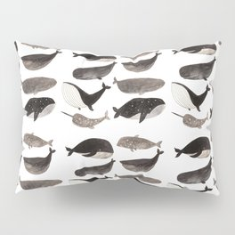 Black and white whales Pillow Sham