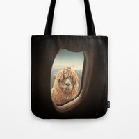 llama Tote Bags featuring QUÈ PASA? by Monika Strigel