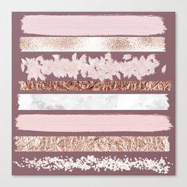 Girly Pink Purple Glitter Rose Gold Brushstrokes Canvas Print