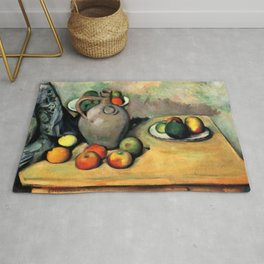 "Paul Cezanne ""Still life, jug and fruit on a table"" Rug"