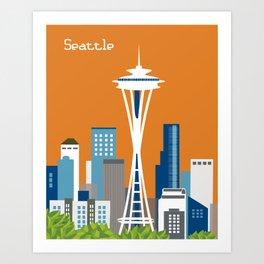Seattle, Washington - Skyline Illustration by Loose Petals Art Print