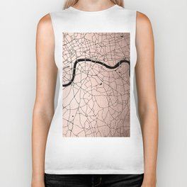 London Rosegold on Black Street Map Biker Tank