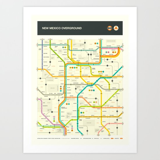 NEW MEXICO HIGHWAY MAP Art Print