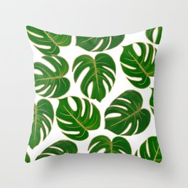 Modern hand painted green faux gold monster leaves Throw Pillow