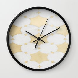 White Gold Marble Moraccan Pattern Wall Clock