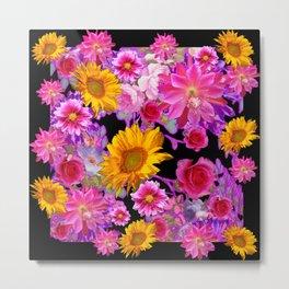BLACK FLORAL TAPESTRY OF ASSORTED FLOWERS Metal Print