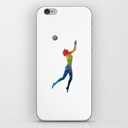 Woman beach volley ball player 01 in watercolor iPhone Skin