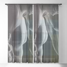 Benday Moiré Maybe Gay Sheer Curtain